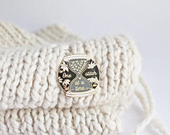 One Stitch at a Time - Gold Plated Hard Enamel Pin Knitters Flair