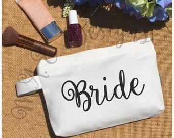 Bride Accessory Bag - Wedding Makeup Bag - Canvas Accessory Bag