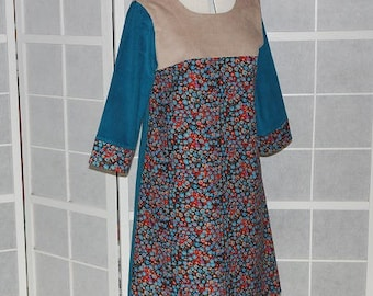 Trapeze dress in corduroy in Brown, beige and blue 3/4 sleeves