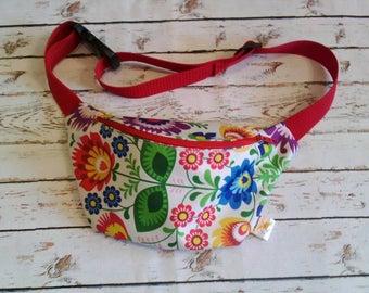 Polish Folk Łowicki PatternWaterproof hip bag waist fanny pack belt bag bum bag