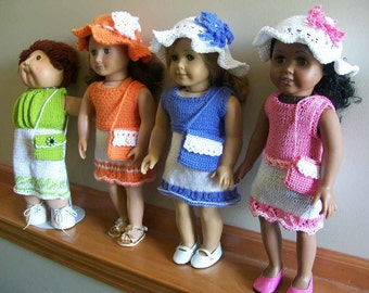 25) Knit Dress, Hat with Flower and Purse for the 18 Inch Doll  American Girl   Cabbage Patch  Girlz, Gotz ANY 18 Inch Doll