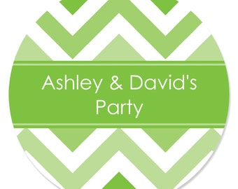 24 Chevron Green Circle Stickers - Personalized Baby Shower, Birthday Party, or Bridal Shower DIY Craft Supplies