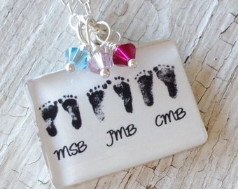 Mom Necklace Baby Footprint Necklace With Birthstones Sterling Silver Personalized Mothers Necklace Mothers Day Gift Mom Birthday Gift