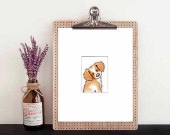 Original Dog Art Brittany Breton Dog Breed ACEO Matted