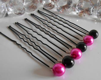 Set of 6 authentic wedding hair pins Pearl Fuchsia and black