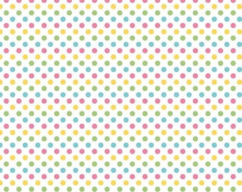 SALE - Small Dots - Girl - Pink Yellow Green Aqua - Riley Blake Designs - 25cm
