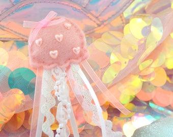 Pink Jellyfish Plush Pin