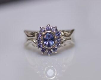Halo Engagement Ring Gold Tanzanite Ring Sculpted Ring 18K Gold Ring Tanzanite Halo Ring