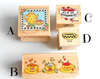 Mary Engelbreit Rubber Stamps - Rubber Stamp - Vintage Rubber Stamps - Mary Englebreit Stamps - Cherry Chick - Cup of Kindness - Tea cup