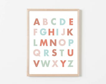 PRINTABLE Alphabet Nursery Wall Art, ABC Print, Pink Blue and Mint ABC Print, Instant Download, Baby Girl Alphabet Print, Girl Nursery Art