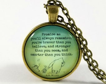 Winnie the Pooh Quote   Quote Necklace   Promise Me   Graduation Gift   Inspirational Quote   Encouraging Quote   Student Gift   From Mom