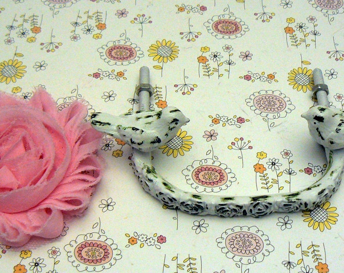 Bird Knob Rose Handle Shabby Chic White Drawer Cabinet Pull DIY Do It Yourself Remodel Decor