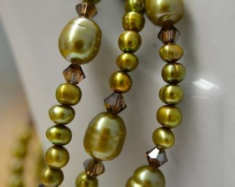 Olive Green Freshwater Pearl and Crystal Necklace and Bracelet SET Handmade in Maine