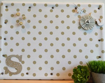 Personalized Cork Bulletin Board, White with Gold Dot Fabric Covered Cork Board with Push Pins, Pin Board and Wall Decor