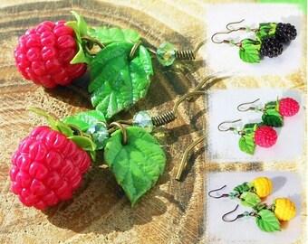 Drop Earrings realistic Raspberries handmade polymer clay / Jewelry berries Earrings wild berries Nature Jewelry Cute Earrings juicy berries