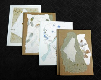 Handmade Paper Note Cards, Choice of 4