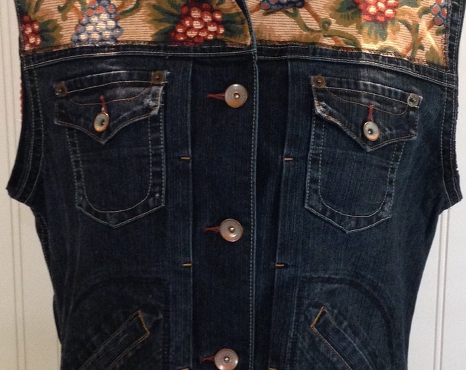 Womens upcycled denim vest vintage grape clusters tapestry fringe trim on back tapestry on front  trim tapestry back western look