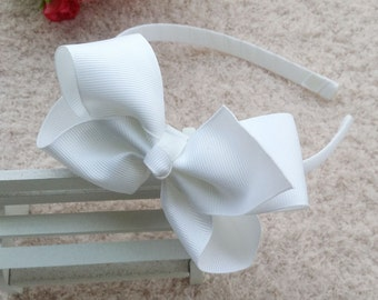 1pcs baby Bow headband, large hair bow headband,Handmade Headband, Headband for Baby,Ribbon Boutique,Grosgrain Headband,White headband O