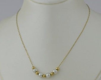 14k Yellow Gold Estate Pearl & Ball Delicate Necklace 16''