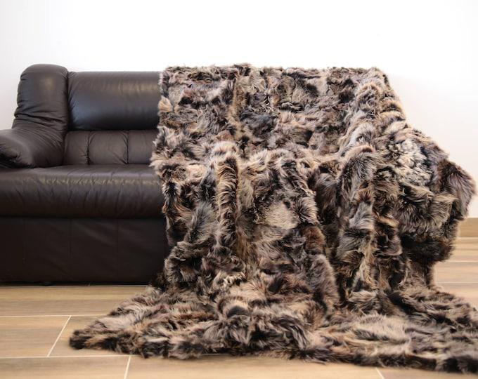 Exclusive Toscana Sheepskin Real Fur Throw | Real Fur Blanket | Gray Fur Throw | 200x155cm