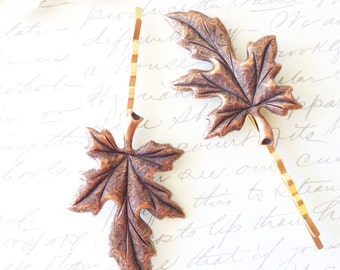 Golden Copper Leaf Hair Pin Set - Leaf Bobby Pin - Woodland - Copper Leaf - Wedding hair - Bridal Hair Pins