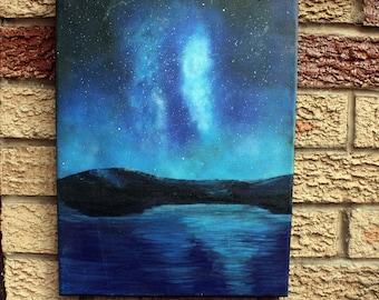 "Night Sky Painting, Galaxy Stars Ocean, 16"" x 12"" Acrylic on Canvas, Wall Art"