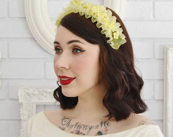 Vintage Headband with Yellow Nylon and Fabric Flowers and Green Leaves
