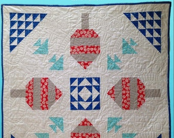FLOAT - the quintessential nautical quilt pattern- Buoys, fish and ocean waves bring this coastal quilt to life