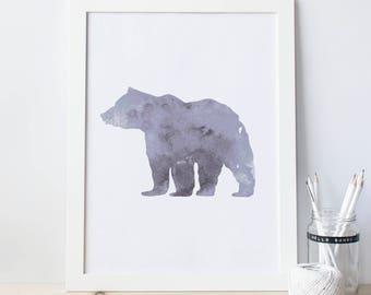 Bear Print Outdoors Print, Artwork for Nurseries, Nature Print, Gray Bear Art, Forest Animal, Gray Nursery, Woodland Art Print, Bear Artwork
