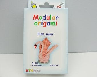 Modular Origami pink swan kit