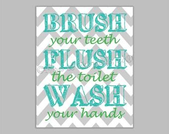 Brush Flush Wash Canvas Bathroom Wall Art Print
