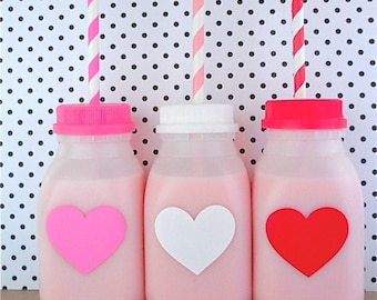 SALE! 15 CUTE HEART Cups for kids!!! Plastic Milk Bottles with lids for parties!!! Bottles, Lids, and Straws Included.
