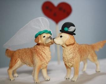 Golden Retriever Cake Topper - Wedding Cake Topper - Bride and Groom - Country Wedding - Wedding Cake Decor - Dog Cake Topper