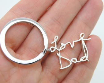 Handwritten Keychain, Sterling Silver Personalized Keychain Gift For Father, Remembrance Gift Actual Handwriting, Graduation Gift for Him