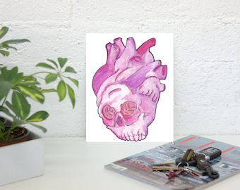 Skull and heart Print 8 1/2x11