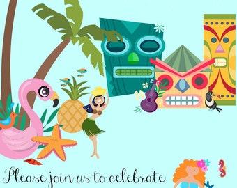 Tiki Beach Birthday Invitation