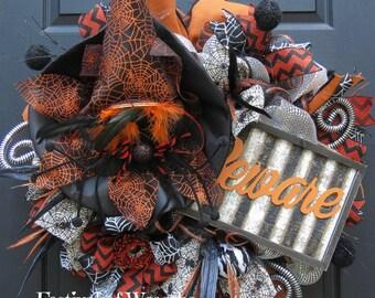 Halloween Deco Mesh Wreath - Halloween Front Door Wreath - Halloween Witch Wreath - Mesh Wreath - Witch Door Wreath - Halloween Wreath