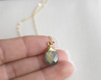 Labradorite Chalcedony Drop Necklace | Labradorite Gemstone Necklace | Gold Necklace | Layering Necklace | Teardrop Gemstone Necklace
