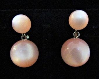 Pretty In Pink Moonglow Lucite Ball Earrings