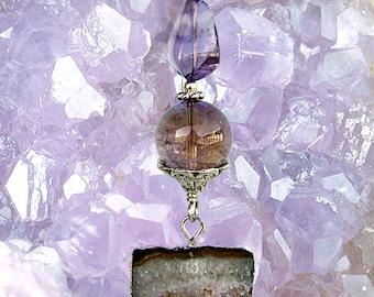 Ametrine and Raw Amethyst Druzy Geode Slice Necklace