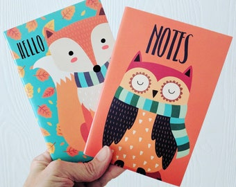 Mini Paper Notebooks / 40 Pages / Owl / Fox / Junk Journal