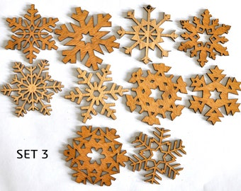 Lasetcut Wooden Snowflakes. Set of 10
