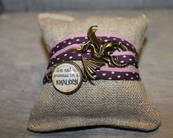 Khaleesi /Bracelet plum and dusty pink cabochon