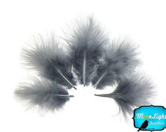 En bas de plumes, 1/4 livre - argent gris Turquie court vers le bas moelleux vrac gros plumes de marabout (en vrac): 3842