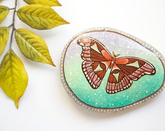 "Atlas Moth Painted Rock, 4.25"" by 3.25"" Hand-Painted Stone, Moth Painting, Insect Painting, Moth Art, Nature Painting, Original Painting"