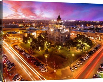 Denton, Texas, UNT, University of North Texas, North Texas, Courthouse, DFW, Denton Square, Sunset, Blue, Pink, Autumn, Fine Art Photography