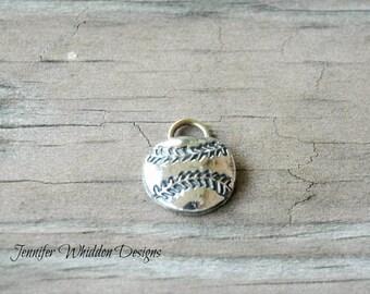Silver Baseball Charm - Baseball Charm - Softball Charm - Baseball Mom - Softball Team Gift - Softball Coach Gift -