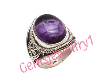 Amethyst Ring, 925 sterling silver, Girl Women Ring, Stone Ring, Amethyst Stone Ring,Christmas Gift Ring,US Size 5 6 7 8 9 10 11 12 13 14  2