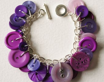 Button Charm Bracelet Magenta Lavender Purple