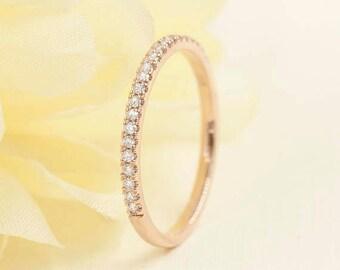 1.6mm Rose Gold Wedding Band. Diamond Wedding Band.14k White,Yellow Gold.Diamond Band.Half Eternity Wedding Ring.Micro Pave Eternity Band.